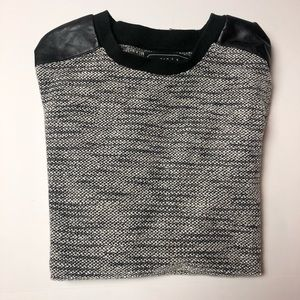 21Men Black/White Textured Sweater